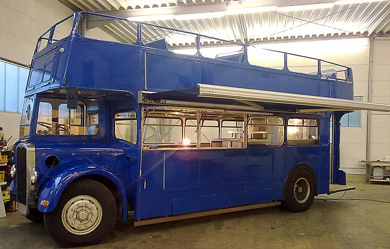 oldtimer catering doppeldeckerbus bj 1950. Black Bedroom Furniture Sets. Home Design Ideas